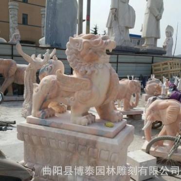 大型石雕麒麟动物雕刻 镇宅神兽 汉白玉麒麟 石雕貔貅